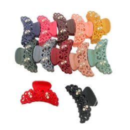 "84 Units of 3.25"" Claw Clip with Rhinestones [Non-Slip] - Hair Accessories"