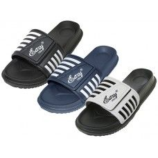 36 Units of Men's Velcro Upper With Stripe Slide Sandal - Men's Flip Flops and Sandals
