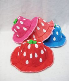 24 Units of Toddlers Summer Strawberry Hat - Baby Apparel