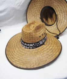24 Units of STRAW PESCADOR HAT WITH BROWN BANDANNA - Sun Hats