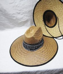 24 Units of Bandana Printed Band With Wide Brim Straw Sun Hat - Sun Hats
