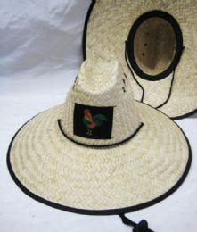 24 Units of Mens Straw Hat Wide Brim With Rooster - Sun Hats