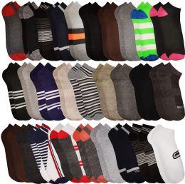 60 Units of Yacht & Smith Men's Wholesale Shoe Liner Training Socks, No Show, Thin Low Cut Sport Ankle Bulk Socks, 10-13 Assorted Prints - Mens Ankle Sock