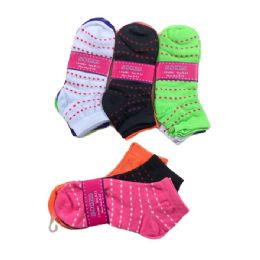 144 Units of 3pr Ladies/Teen Anklets 9-11 [Dotted Lines] - Womens Ankle Sock