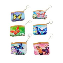 """84 Units of 4""""x3.5"""" Zippered Change Purse [butterfly] - Coin Holders & Banks"""