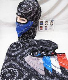 48 Units of Full Face Mask Two Tone Paisley Bandanna Assorted Colors - Unisex Ski Masks