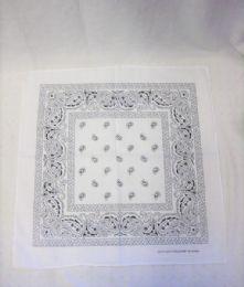 84 Units of Cotton Paisley Printed Bandana In White - Bandanas