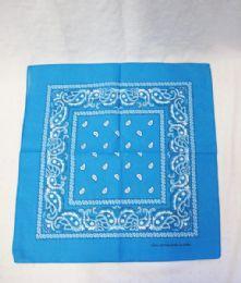 84 Units of Cotton Paisley Printed Bandana In Blue - Bandanas