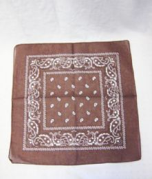 84 Units of Cotton Paisley Printed Bandana In Brown Color - Bandanas