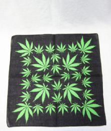 84 Units of Marijuana Hemp Leaf Weed Bandana Black - Bandanas
