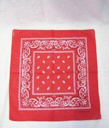 84 Units of Novelty Bandanas Paisley Cotton Bandanas In Red - Bandanas