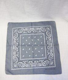 84 Units of Novelty Bandanas Paisley Cotton Bandanas In Grey - Bandanas
