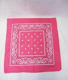 84 Units of Novelty Bandanas Paisley Cotton Bandanas In Hot Pink - Bandanas