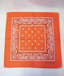 84 Units of Novelty Bandanas Paisley Cotton Bandanas In Orange - Bandanas