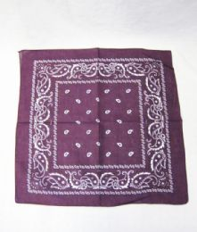 84 Units of Novelty Bandanas Paisley Cotton Bandanas In Purple - Bandanas