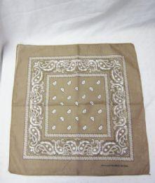 84 Units of Bandanas Cotton Paisley Print Head Wrap Scarf Wristband In Khaki - Bandanas