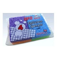 48 Units of 4 Pack Ufo Cellulose Sponges - Cleaning Products