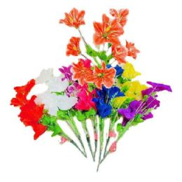 72 Units of 8 Head Lilies - Artificial Flowers