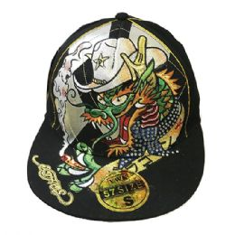 60 Units of Dragon Flat Fitted Hats Flat Bill - Baseball Caps & Snap Backs