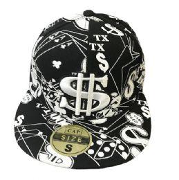 60 Units of Black Flat Fitted Hats Flat Bill Cap - Baseball Caps & Snap Backs