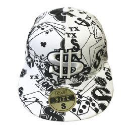 60 Units of White Flat Fitted Hats Flat Bill Cap - Baseball Caps & Snap Backs