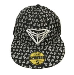 60 Units of Diamond Black Flat Brim Snapback Hat - Baseball Caps & Snap Backs