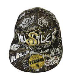 60 Units of Hustler Flat Brim Fitted Hat - Baseball Caps & Snap Backs