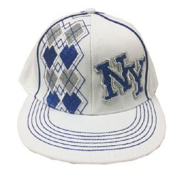 60 Units of Ny Embroidered Fancy Fitted Hat Flat Bill White Color - Baseball Caps & Snap Backs