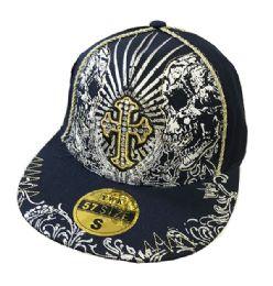60 Units of Cross Fancy Flat Fitted Hats Flat Bill - Baseball Caps & Snap Backs