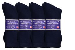 24 Units of Yacht & Smith Men's King Size Loose Fit Diabetic Crew Socks, Navy, Size 13-16 - Big And Tall Mens Diabetic Socks
