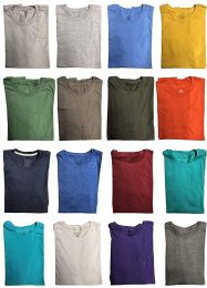 24 Units of Mens Cotton Short Sleeve T-Shirts, Bulk Crew Tees for Guys, Mixed Bright Colors Bulk Pack Size 3XL - Mens T-Shirts