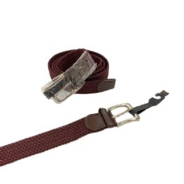 24 Units of Braided Stretch Belt *Brown (All Sizes) - Mens Belts