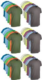 36 Units of Mens Cotton Short Sleeve T-Shirts, Bulk Crew Tees for Guys, Mixed Bright Colors Size Large - Mens T-Shirts