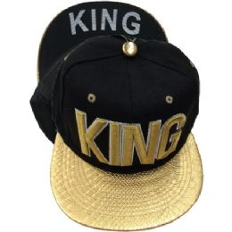 60 Units of King Snap Back Flat Fitted Hats Flat Bill Assorted Color - Baseball Caps & Snap Backs