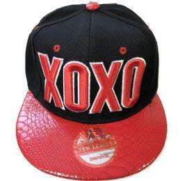 60 Units of Fashion Xoxo Snapback Hat Flat Fitted Hats Flat Bill Assorted Color - Baseball Caps & Snap Backs