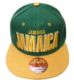 60 Units of Jamaica Snapback Hat Fitted Cap Flat Bill Assorted Color - Baseball Caps & Snap Backs