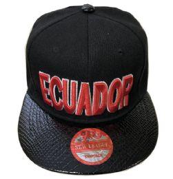 60 Units of Ecuador Snapback Hat Fitted Cap Flat Bill Assorted Color - Baseball Caps & Snap Backs