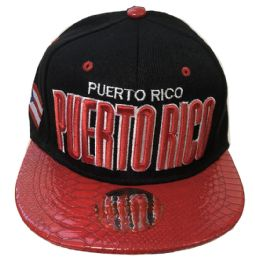 60 Units of Puerto Rico Snapback Hat Fitted Cap Flat Bill Assorted Color - Baseball Caps & Snap Backs