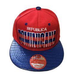 60 Units of Republic Dominicana Snapback Hat Fitted Cap Flat Bill Assorted Color - Baseball Caps & Snap Backs