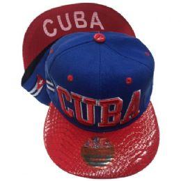 60 Units of Cuba Snapback Hat Fitted Cap Flat Bill Assorted Color - Baseball Caps & Snap Backs