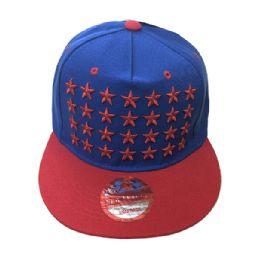 60 Units of Stars Snapback Hat Fitted Cap Flat Bill Assorted Color - Baseball Caps & Snap Backs