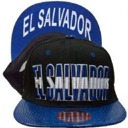 60 Units of El Salvador Snapback Hat Fitted Cap Flat Bill Assorted Color - Baseball Caps & Snap Backs