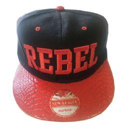 60 Units of Rebel Snapback Hat Fitted Cap Flat Bill Assorted Color - Baseball Caps & Snap Backs