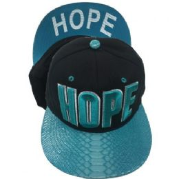 60 Units of Hope Snapback Hat Fitted Cap Flat Bill In Assorted Color - Baseball Caps & Snap Backs