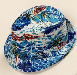 60 Units of Cute Palm Tree Paradise Print Summer Fedora Hat - Fedoras, Driver Caps & Visor