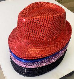 60 Units of Sequins Fedora Hats In Assorted Color - Fedoras, Driver Caps & Visor