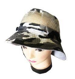 36 Units of Camo Mesh Bucket Hat - Bucket Hats
