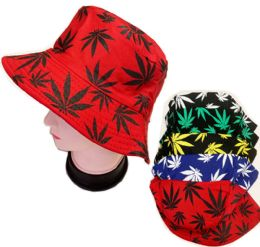 60 Units of Bucket Leaf Fishing Hat In Assorted Colors - Bucket Hats