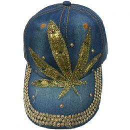 60 Units of Bling Jeans Hat Golden Leaf - Baseball Caps & Snap Backs