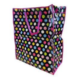 36 Units of Jumbo Vinyl Shopping Bag with Handles [Polka Dots] - Bags Of All Types